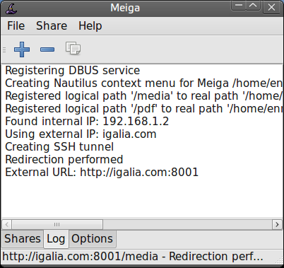 Meiga screenshot (log)